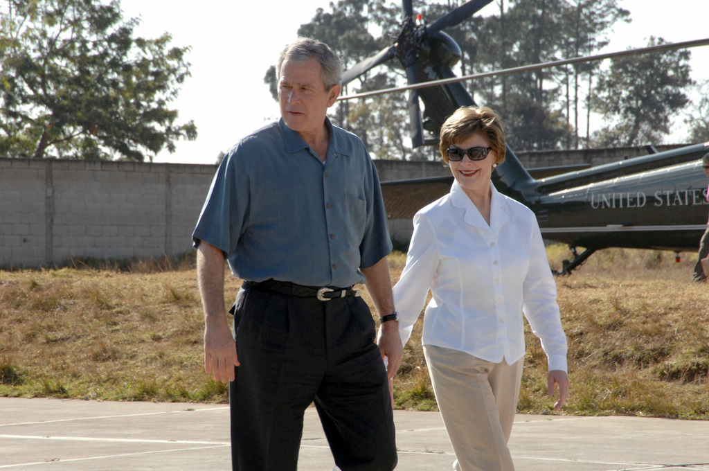 George W. Bush the former US president with her wife